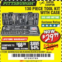 Harbor Freight Coupon 130 PIECE TOOL KIT WITH CASE Lot No. 64263/68998/63091/63248/64080 Expired: 4/1/19 - $29.99