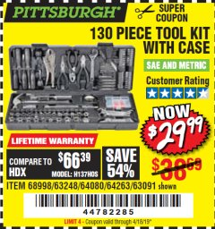 Harbor Freight Coupon 130 PIECE TOOL KIT WITH CASE Lot No. 64263/68998/63091/63248/64080 Expired: 4/18/19 - $29.99