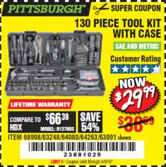 Harbor Freight Coupon 130 PIECE TOOL KIT WITH CASE Lot No. 64263/68998/63091/63248/64080 Expired: 4/9/19 - $29.99