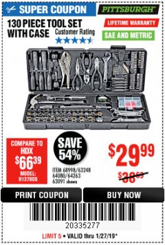 Harbor Freight Coupon 130 PIECE TOOL KIT WITH CASE Lot No. 64263/68998/63091/63248/64080 Expired: 1/27/19 - $29.99