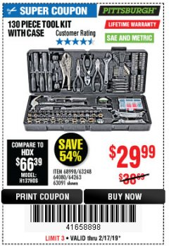 Harbor Freight Coupon 130 PIECE TOOL KIT WITH CASE Lot No. 64263/68998/63091/63248/64080 Expired: 2/17/19 - $29.99