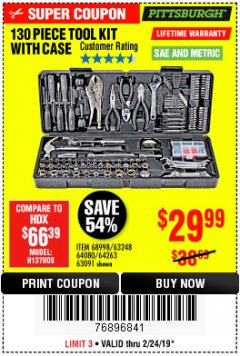 Harbor Freight Coupon 130 PIECE TOOL KIT WITH CASE Lot No. 64263/68998/63091/63248/64080 Expired: 2/24/19 - $29.99
