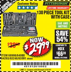 Harbor Freight Coupon 130 PIECE TOOL KIT WITH CASE Lot No. 64263/68998/63091/63248/64080 Expired: 5/18/19 - $29.99