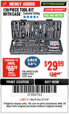 Harbor Freight Coupon 130 PIECE TOOL KIT WITH CASE Lot No. 64263/68998/63091/63248/64080 Expired: 3/17/19 - $29.99