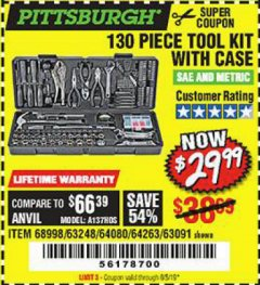 Harbor Freight Coupon 130 PIECE TOOL KIT WITH CASE Lot No. 64263/68998/63091/63248/64080 Expired: 8/5/19 - $29.99