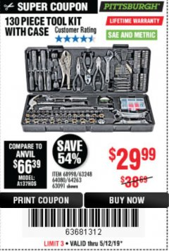 Harbor Freight Coupon 130 PIECE TOOL KIT WITH CASE Lot No. 64263/68998/63091/63248/64080 Expired: 5/12/19 - $29.99