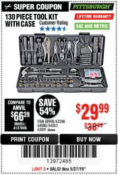 Harbor Freight Coupon 130 PIECE TOOL KIT WITH CASE Lot No. 64263/68998/63091/63248/64080 Expired: 5/27/19 - $29.99