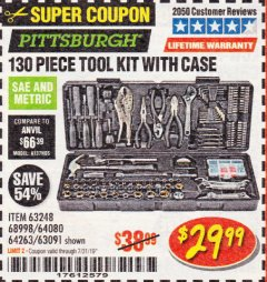 Harbor Freight Coupon 130 PIECE TOOL KIT WITH CASE Lot No. 64263/68998/63091/63248/64080 Expired: 7/31/19 - $29.99