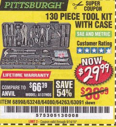 Harbor Freight Coupon 130 PIECE TOOL KIT WITH CASE Lot No. 64263/68998/63091/63248/64080 Expired: 9/14/19 - $29.99