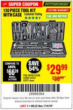 Harbor Freight Coupon 130 PIECE TOOL KIT WITH CASE Lot No. 64263/68998/63091/63248/64080 Expired: 7/14/19 - $29.99