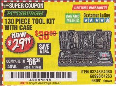 Harbor Freight Coupon 130 PIECE TOOL KIT WITH CASE Lot No. 64263/68998/63091/63248/64080 Expired: 11/14/19 - $29.99