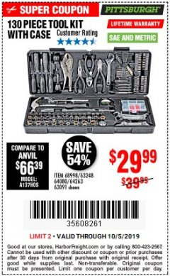 Harbor Freight Coupon 130 PIECE TOOL KIT WITH CASE Lot No. 64263/68998/63091/63248/64080 Expired: 10/5/19 - $29.99