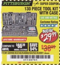 Harbor Freight Coupon 130 PIECE TOOL KIT WITH CASE Lot No. 64263/68998/63091/63248/64080 Expired: 11/15/19 - $29.99