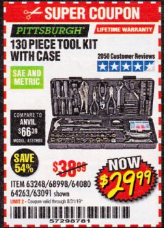 Harbor Freight Coupon 130 PIECE TOOL KIT WITH CASE Lot No. 64263/68998/63091/63248/64080 Expired: 8/31/19 - $29.99