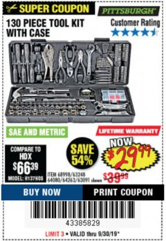 Harbor Freight Coupon 130 PIECE TOOL KIT WITH CASE Lot No. 64263/68998/63091/63248/64080 Expired: 9/30/19 - $29.99