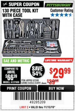 Harbor Freight Coupon 130 PIECE TOOL KIT WITH CASE Lot No. 64263/68998/63091/63248/64080 Expired: 11/13/19 - $29.99
