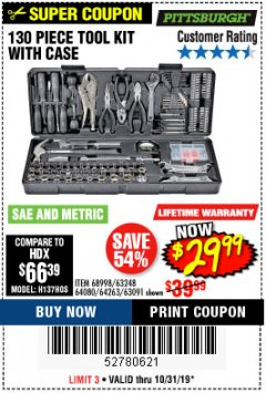 Harbor Freight Coupon 130 PIECE TOOL KIT WITH CASE Lot No. 64263/68998/63091/63248/64080 Expired: 10/31/19 - $29.99