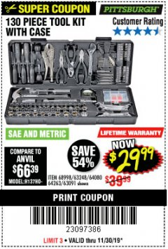 Harbor Freight Coupon 130 PIECE TOOL KIT WITH CASE Lot No. 64263/68998/63091/63248/64080 Expired: 11/30/19 - $29.99