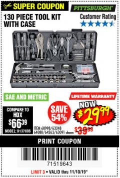 Harbor Freight Coupon 130 PIECE TOOL KIT WITH CASE Lot No. 64263/68998/63091/63248/64080 Expired: 11/10/19 - $29.99