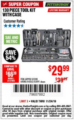 Harbor Freight Coupon 130 PIECE TOOL KIT WITH CASE Lot No. 64263/68998/63091/63248/64080 Expired: 11/24/19 - $29.99