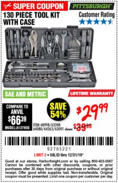 Harbor Freight Coupon 130 PIECE TOOL KIT WITH CASE Lot No. 64263/68998/63091/63248/64080 Expired: 12/31/19 - $29.99