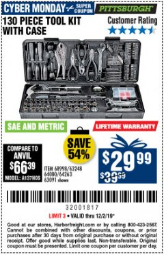 Harbor Freight Coupon 130 PIECE TOOL KIT WITH CASE Lot No. 64263/68998/63091/63248/64080 Expired: 12/1/19 - $29.99