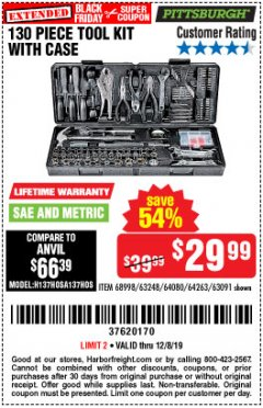 Harbor Freight Coupon 130 PIECE TOOL KIT WITH CASE Lot No. 64263/68998/63091/63248/64080 Expired: 12/8/19 - $29.99