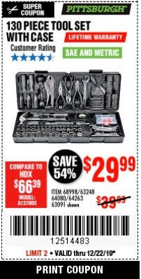 Harbor Freight Coupon 130 PIECE TOOL KIT WITH CASE Lot No. 64263/68998/63091/63248/64080 Expired: 12/22/19 - $29.99