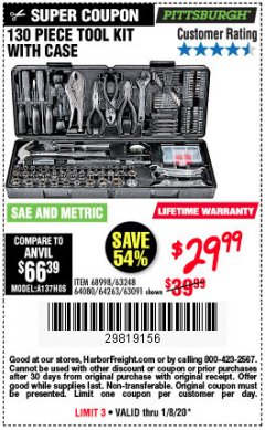 Harbor Freight Coupon 130 PIECE TOOL KIT WITH CASE Lot No. 64263/68998/63091/63248/64080 Expired: 1/8/20 - $29.99