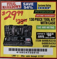 Harbor Freight Coupon 130 PIECE TOOL KIT WITH CASE Lot No. 64263/68998/63091/63248/64080 Expired: 3/7/20 - $29.99
