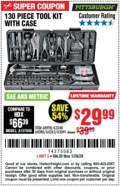 Harbor Freight Coupon 130 PIECE TOOL KIT WITH CASE Lot No. 64263/68998/63091/63248/64080 Expired: 1/26/20 - $29.99