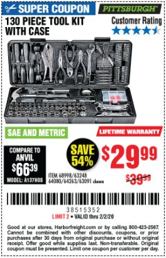 Harbor Freight Coupon 130 PIECE TOOL KIT WITH CASE Lot No. 64263/68998/63091/63248/64080 Expired: 2/2/20 - $29.99