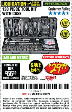 Harbor Freight Coupon 130 PIECE TOOL KIT WITH CASE Lot No. 64263/68998/63091/63248/64080 Expired: 3/31/20 - $29.99