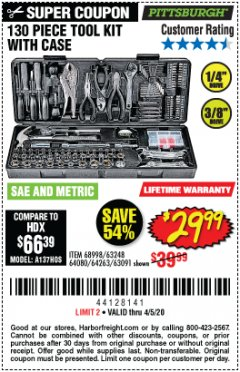Harbor Freight Coupon 130 PIECE TOOL KIT WITH CASE Lot No. 64263/68998/63091/63248/64080 Expired: 6/30/20 - $29.99