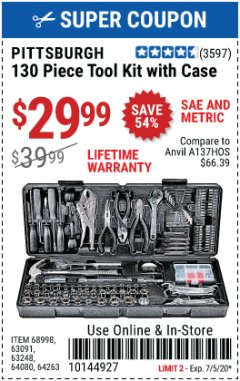 Harbor Freight Coupon 130 PIECE TOOL KIT WITH CASE Lot No. 64263/68998/63091/63248/64080 Expired: 7/5/20 - $29.99