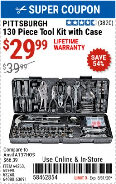 Harbor Freight Coupon 130 PIECE TOOL KIT WITH CASE Lot No. 64263/68998/63091/63248/64080 Expired: 8/30/20 - $29.99
