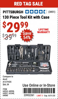 Harbor Freight Coupon 130 PIECE TOOL KIT WITH CASE Lot No. 64263/68998/63091/63248/64080 Expired: 8/31/20 - $29.99