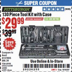 Harbor Freight Coupon 130 PIECE TOOL KIT WITH CASE Lot No. 64263/68998/63091/63248/64080 Expired: 10/16/20 - $29.99