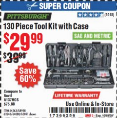 Harbor Freight Coupon 130 PIECE TOOL KIT WITH CASE Lot No. 64263/68998/63091/63248/64080 Expired: 10/19/20 - $29.99
