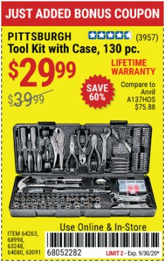 Harbor Freight Coupon 130 PIECE TOOL KIT WITH CASE Lot No. 64263/68998/63091/63248/64080 Expired: 9/30/20 - $29.99