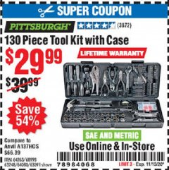 Harbor Freight Coupon 130 PIECE TOOL KIT WITH CASE Lot No. 64263/68998/63091/63248/64080 Expired: 11/13/20 - $29.99
