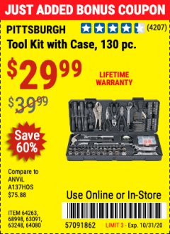 Harbor Freight Coupon 130 PIECE TOOL KIT WITH CASE Lot No. 64263/68998/63091/63248/64080 Expired: 10/31/20 - $29.99