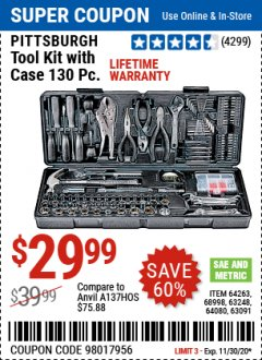 Harbor Freight Coupon 130 PIECE TOOL KIT WITH CASE Lot No. 64263/68998/63091/63248/64080 Expired: 11/30/20 - $29.99