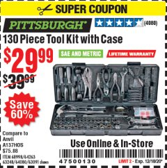 Harbor Freight Coupon 130 PIECE TOOL KIT WITH CASE Lot No. 64263/68998/63091/63248/64080 Expired: 12/18/20 - $29.99