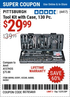 Harbor Freight Coupon 130 PIECE TOOL KIT WITH CASE Lot No. 64263/68998/63091/63248/64080 Expired: 12/31/20 - $29.99