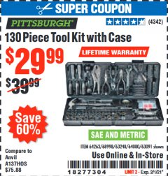 Harbor Freight Coupon 130 PIECE TOOL KIT WITH CASE Lot No. 64263/68998/63091/63248/64080 Expired: 2/1/21 - $29.99