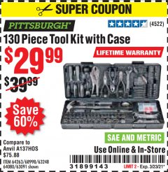 Harbor Freight Coupon 130 PIECE TOOL KIT WITH CASE Lot No. 64263/68998/63091/63248/64080 Expired: 3/23/21 - $29.99