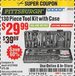 Harbor Freight Coupon 130 PIECE TOOL KIT WITH CASE Lot No. 64263/68998/63091/63248/64080 Expired: 3/2/21 - $29.99