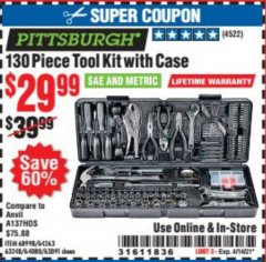 Harbor Freight Coupon 130 PIECE TOOL KIT WITH CASE Lot No. 64263/68998/63091/63248/64080 Valid Thru: 4/14/21 - $29.99