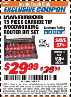 Harbor Freight ITC Coupon 15 PIECE CARBIDE TIP WOODWORKING ROUTER BIT SET Lot No. 68872 Expired: 6/30/18 - $29.99
